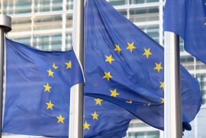 European flags in front of the Berlaymont building, headquarters of the European commission