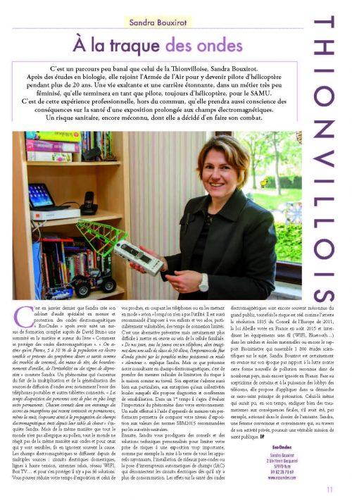 article journal de la ville de Thionville juin 2016 sandra bouxirot diagnostic des champs électromagnétiques et ondes