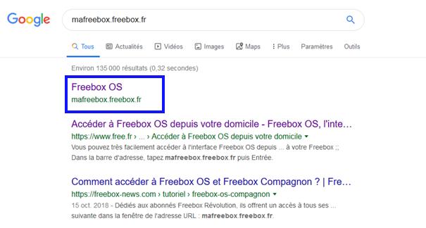 Procédure pour supprimer les émissions d'ondes de la FreeBox révolution : recherche Google